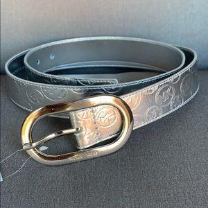 Michael Kors Silver Metallic MK Logo Belt XL